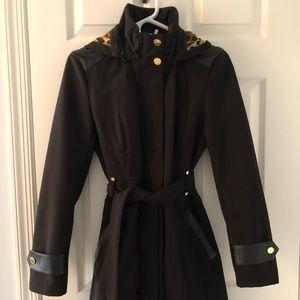 Black rain jacket with removable hood